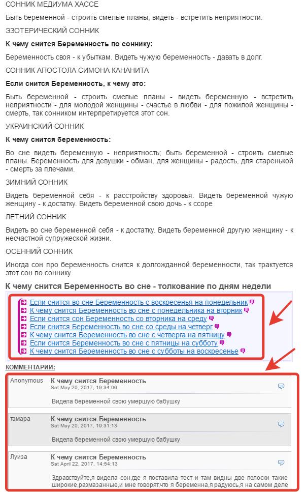 Пример страницы сайта из ТОП 1 Яндекса