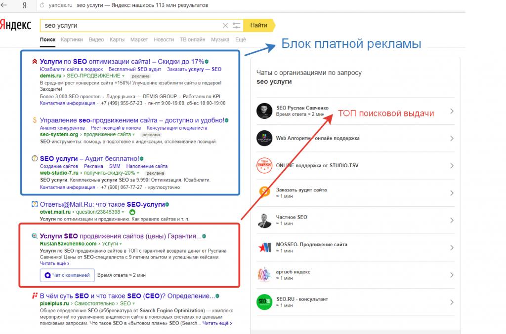 ТОП 1-3 выдачи Яндекса по запросу «SEO услуги»