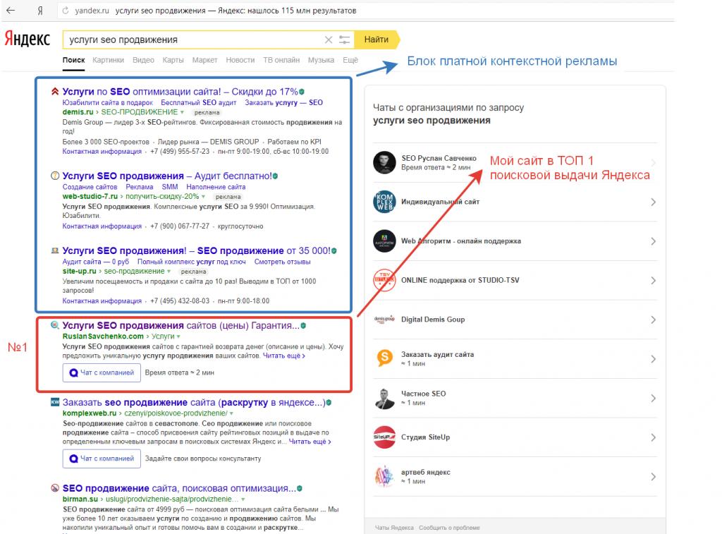 Мой сайт в ТОП 1 Яндекса по запросу «Услуги SEO продвижения»